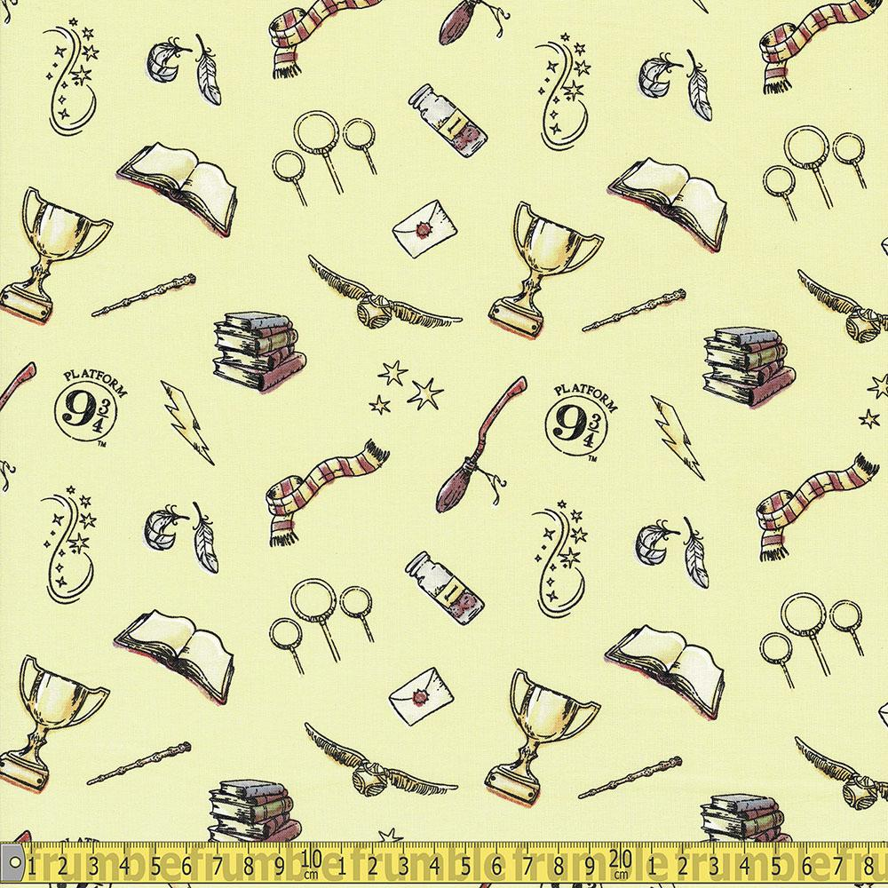 Harry Potter Magic Yellow Fabric by Camelot
