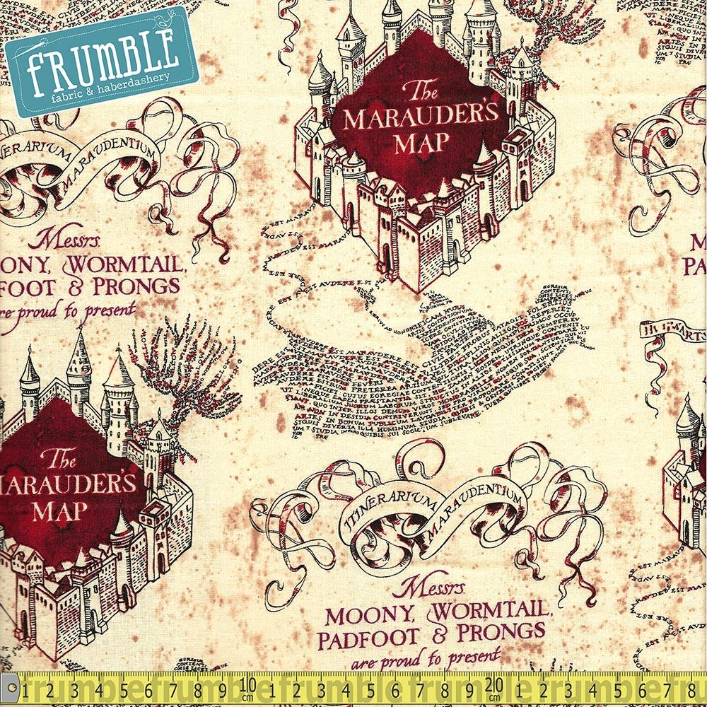 Harry Potter Marauders Map Tan Fabric by Camelot