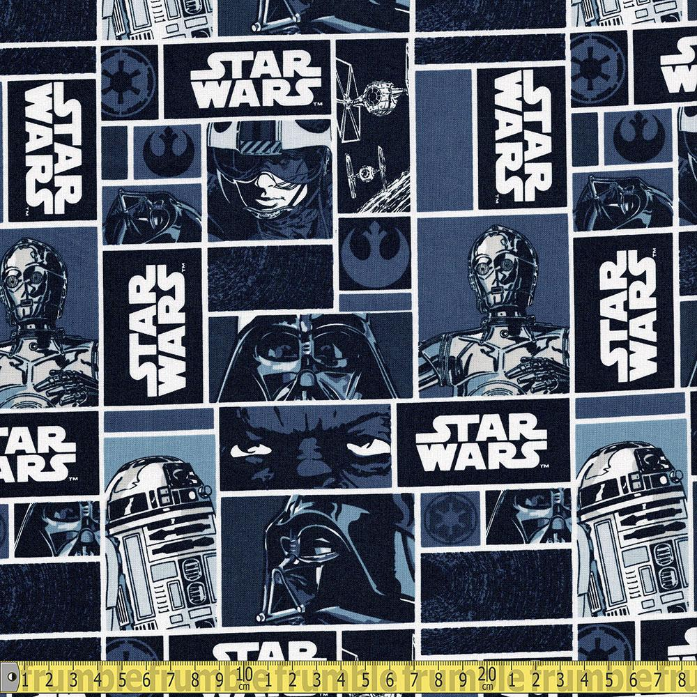 Star Wars Classic Character Blocks Navy Fabric by Camelot