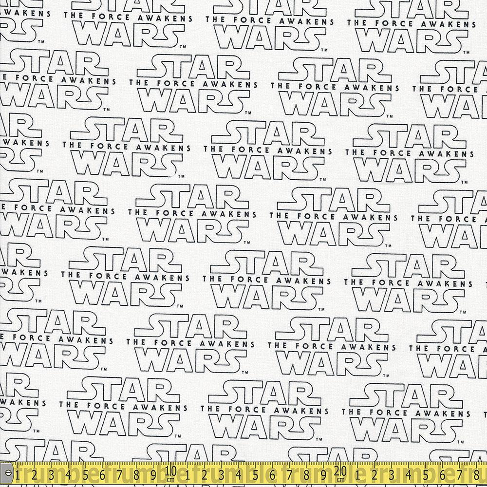 Star Wars Force Awakens Logo White Fabric by Camelot