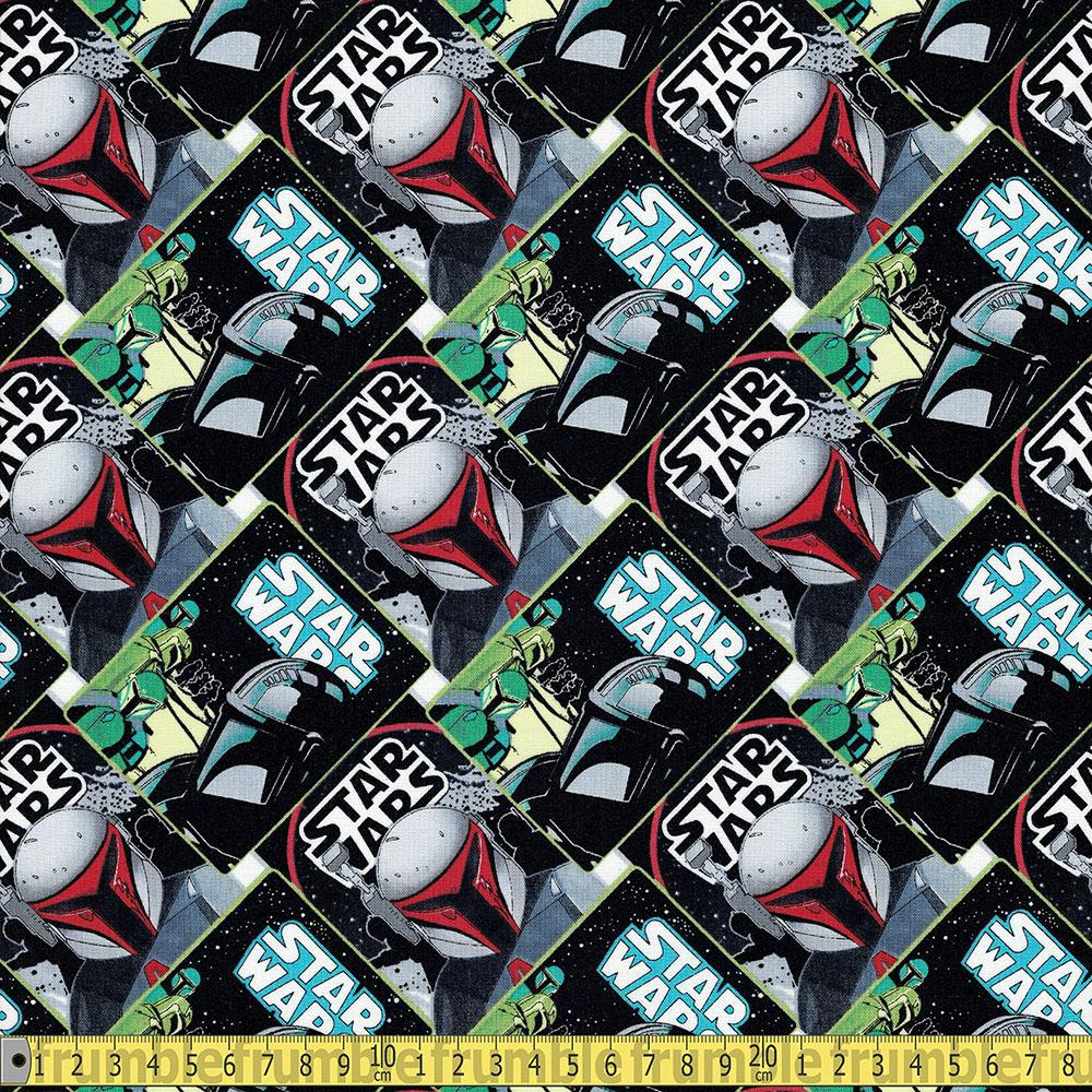 Star Wars Mandalorian - Mando Poster Collage Fabric by Camelot
