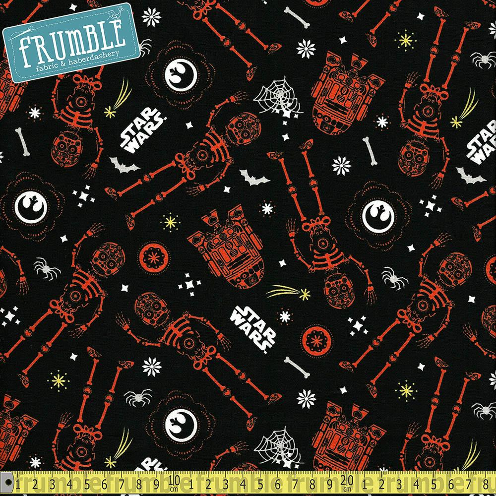 Star Wars R2D2 C3P0 Halloween Glow Black - Frumble Fabrics