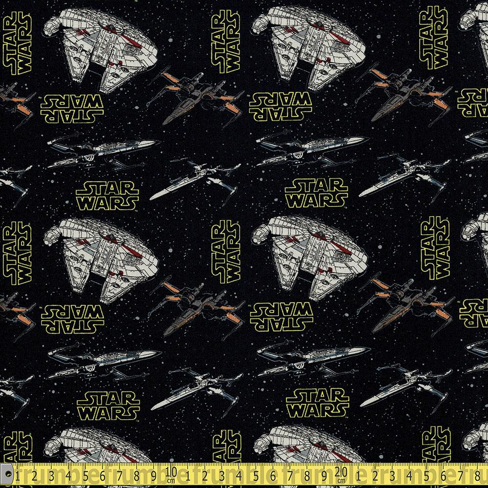 Star Wars Rebel Ships Black Fabric by Camelot