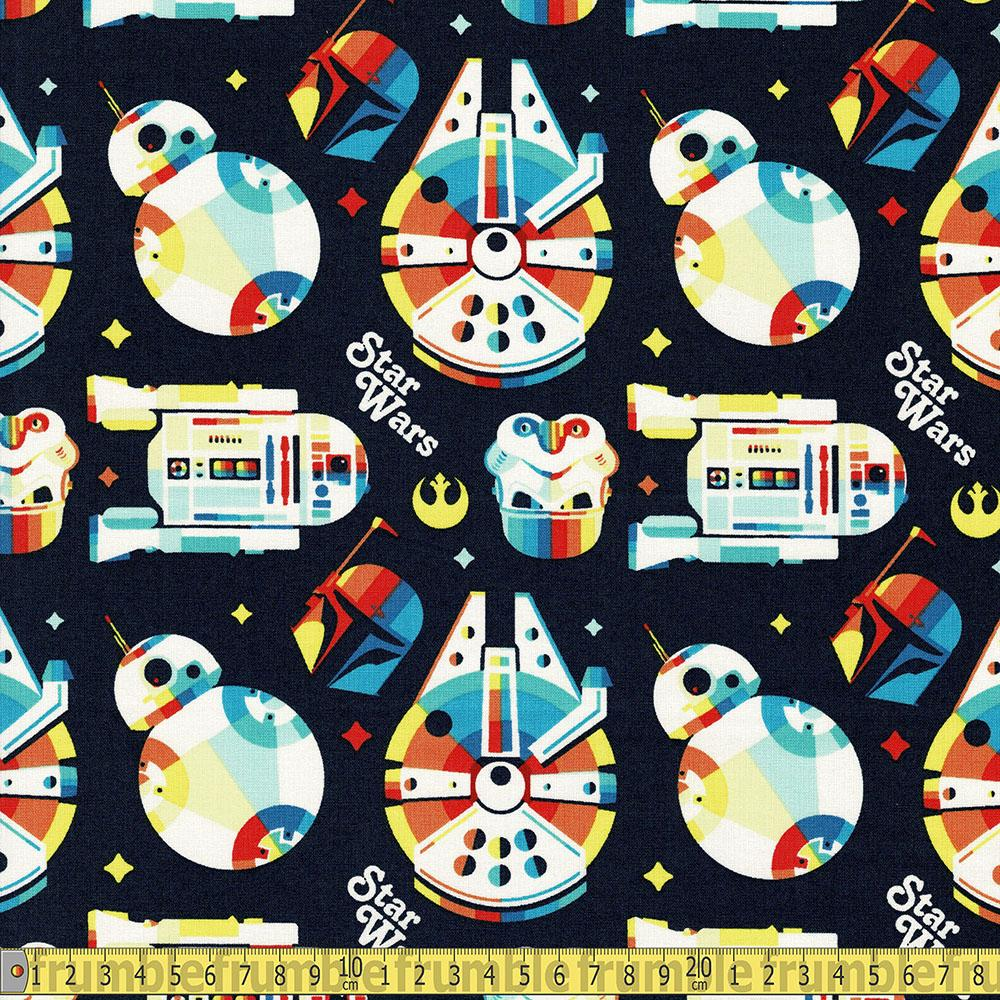 Star Wars Retro Throwback Rainbow Navy Fabric by Camelot