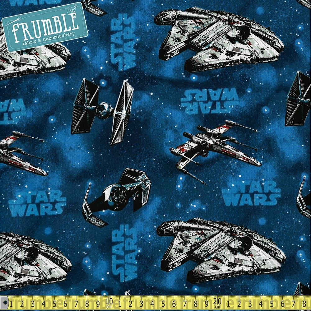 Star Wars Ships Blue Fabric by Camelot