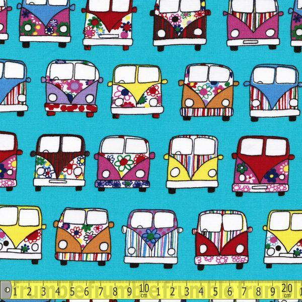 VW Campervan Front Jade Green Fabric by Various