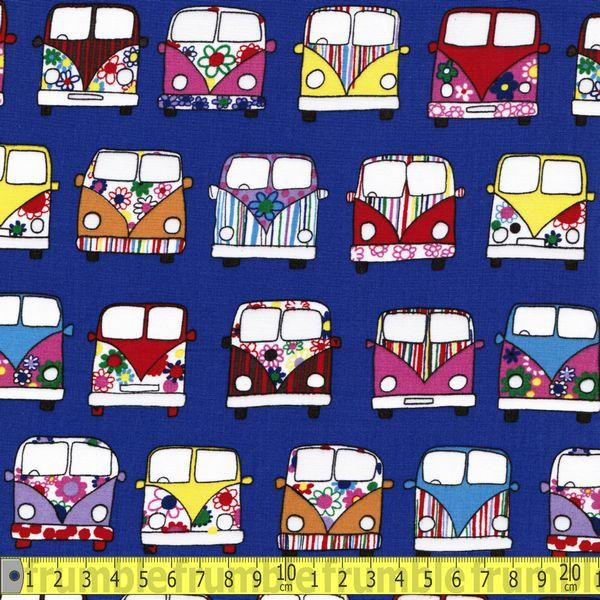 VW Campervan Front Deep Purple/Blue Fabric by Various