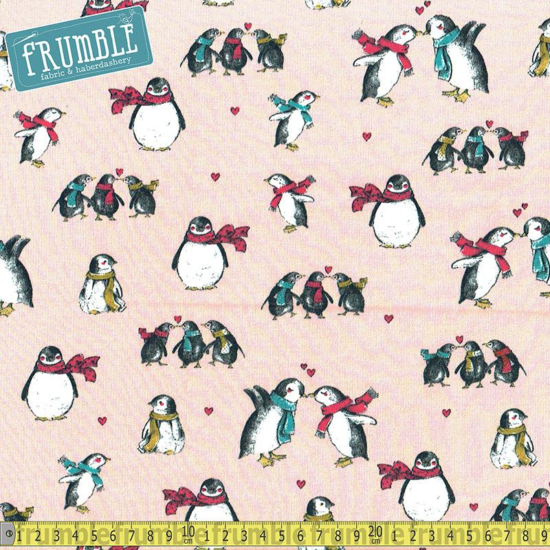 Polar Penguins Pink Terry Jersey Print Fabric by Various