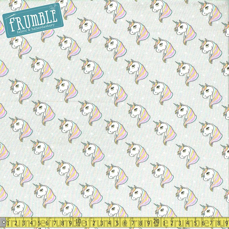 Unicorn Heads Grey Jersey Print Fabric by Various