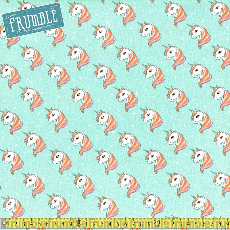 Unicorn Heads Mint Jersey Print Fabric by Various