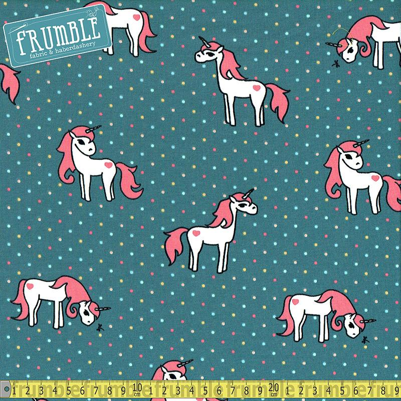 Unicorn Magic Blue Pink Jersey Print Fabric by Various