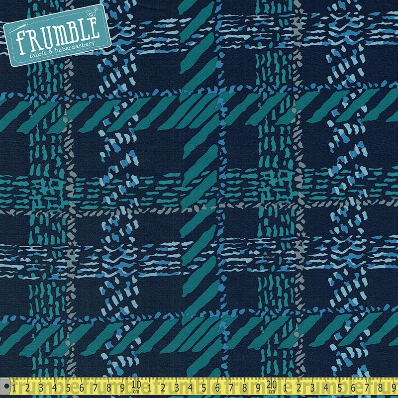 Teal Tracks Printed Softshell Fabric by Various