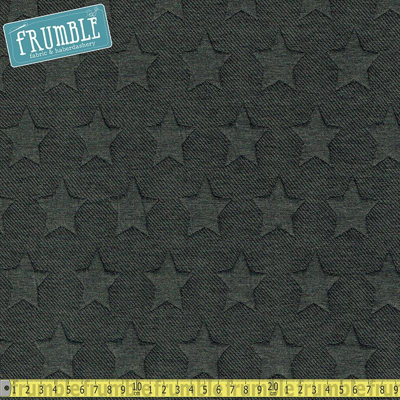 Embossed Star Grey Jersey Sweatshirt Fabric by Various