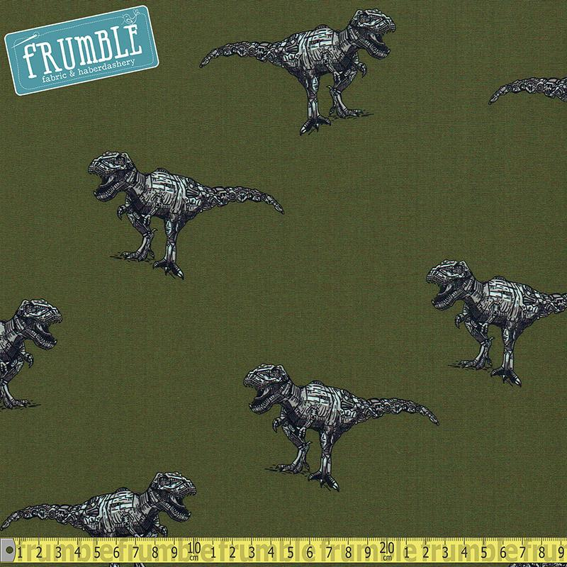 Robot Dino Army Green Printed Softshell Fabric by Various