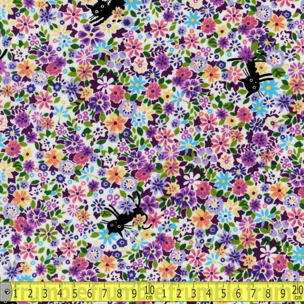 Cocoland Coco Cat Floral Purple Fabric by Cocoland