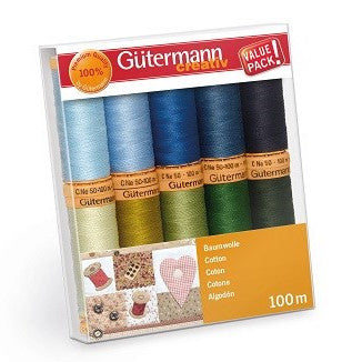 Gutermann 100m Cotton Thread - 10 Reels Cool Colours