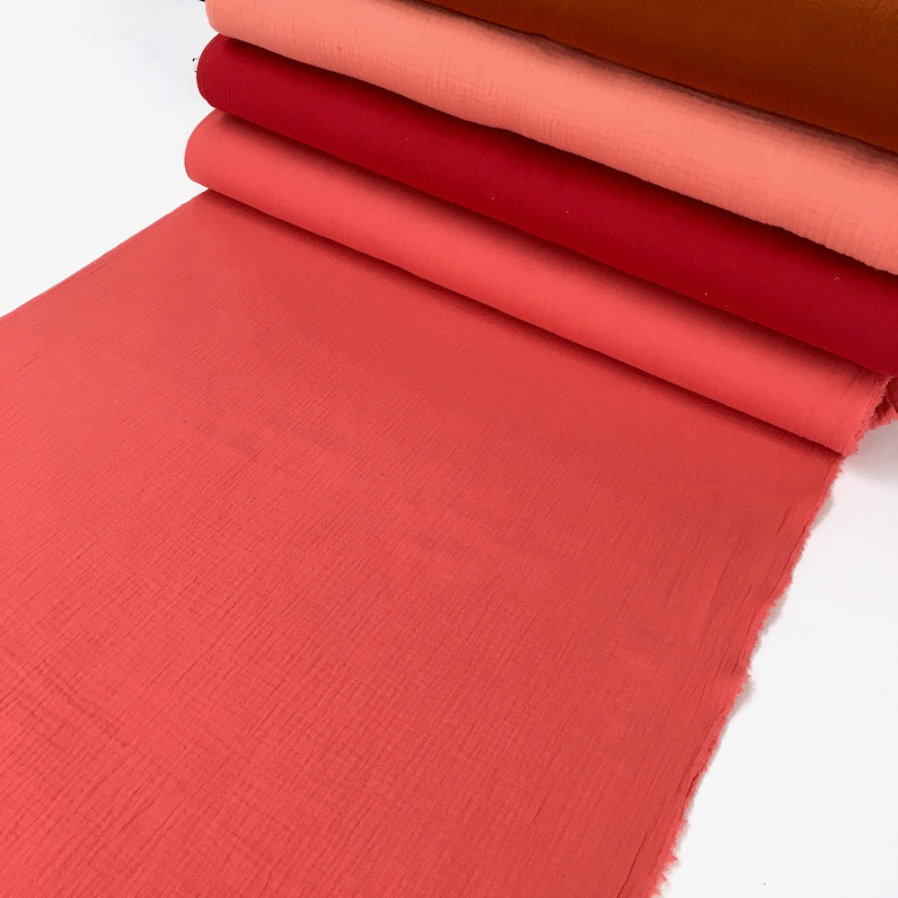 Organic Double Gauze - GOTS Muslin Solids - Coral