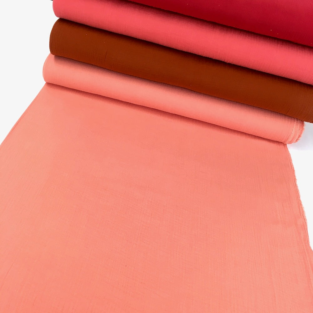 Organic Double Gauze - GOTS Muslin Solids - Coral Peach