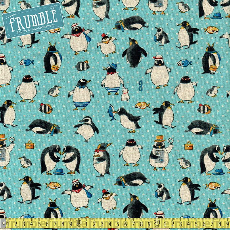 Cotton/Linen Canvas Penguin Holiday Ice Blue - Frumble Fabrics