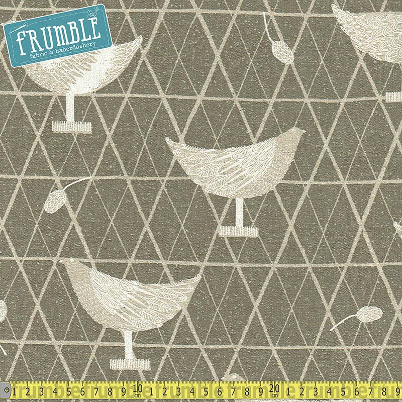 Cotton/Linen Canvas Hummingbird Chickens Coop Grey - Frumble Fabrics