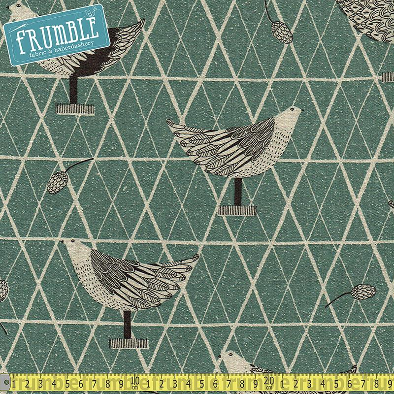 Cotton/Linen Canvas Hummingbird Chickens Coop Teal Fabric by Cosmo Textiles