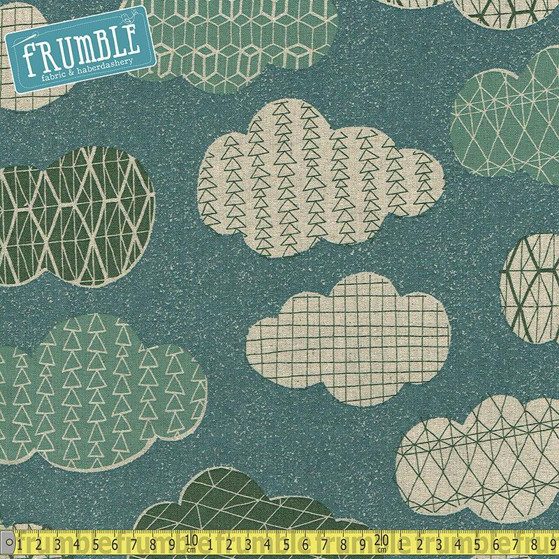 Cotton/Linen Canvas Hummingbird Geo Clouds Aqua Blue Fabric by Cosmo Textiles