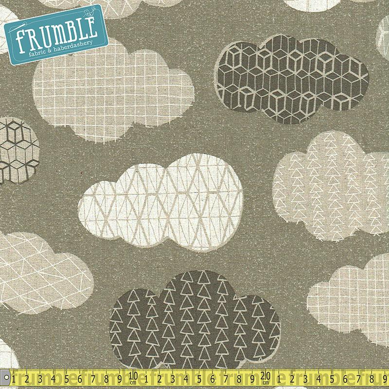 Cotton/Linen Canvas Hummingbird Geo Clouds Grey - Frumble Fabrics