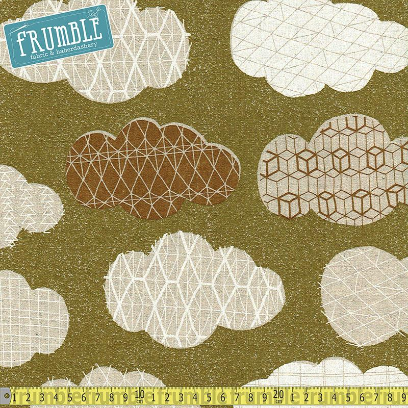 Cotton/Linen Canvas Hummingbird Geo Clouds Mustard Green Fabric by Cosmo Textiles