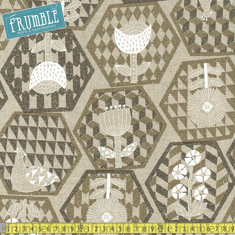 Cotton/Linen Canvas Hummingbird Hexagons Grey Fabric by Cosmo Textiles