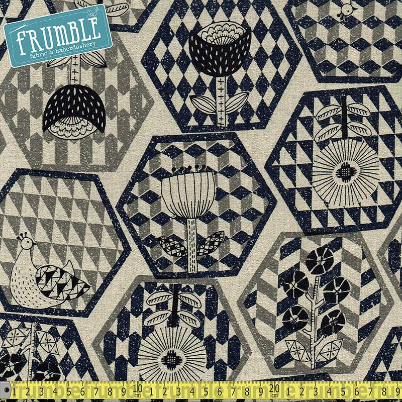Cotton/Linen Canvas Hummingbird Hexagons Navy - Frumble Fabrics