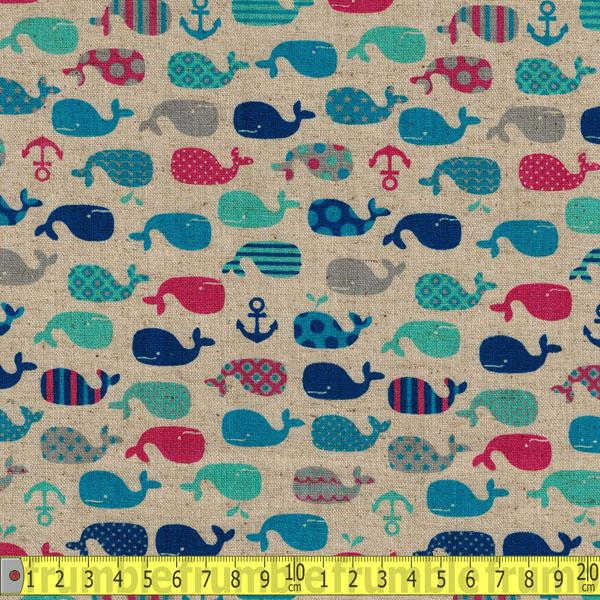 Whales & Anchors Natural Pink Fabric by Cosmo Textiles