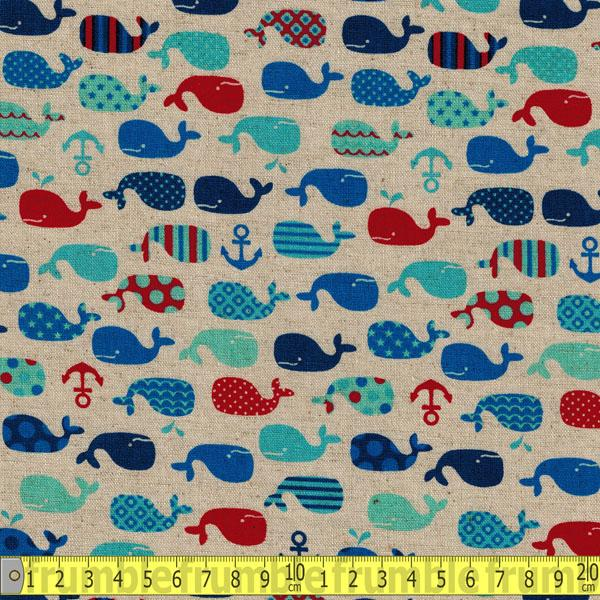 Whales & Anchors Natural Red Fabric by Cosmo Textiles