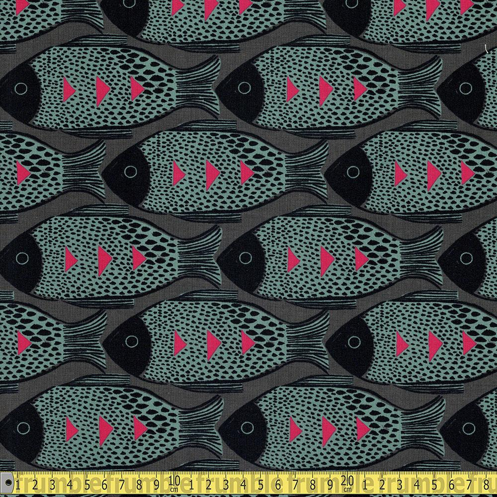 Cotton and Steel - Magic Forest - Fish Charcoal Sewing Fabric