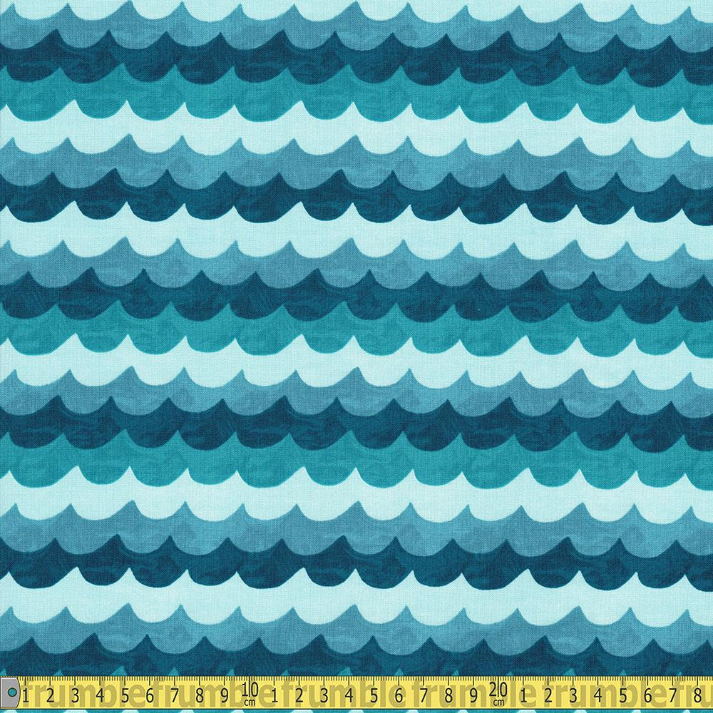 Cotton and Steel - Rifle Paper Co - Amalfi Waves Turquoise Sewing Fabric