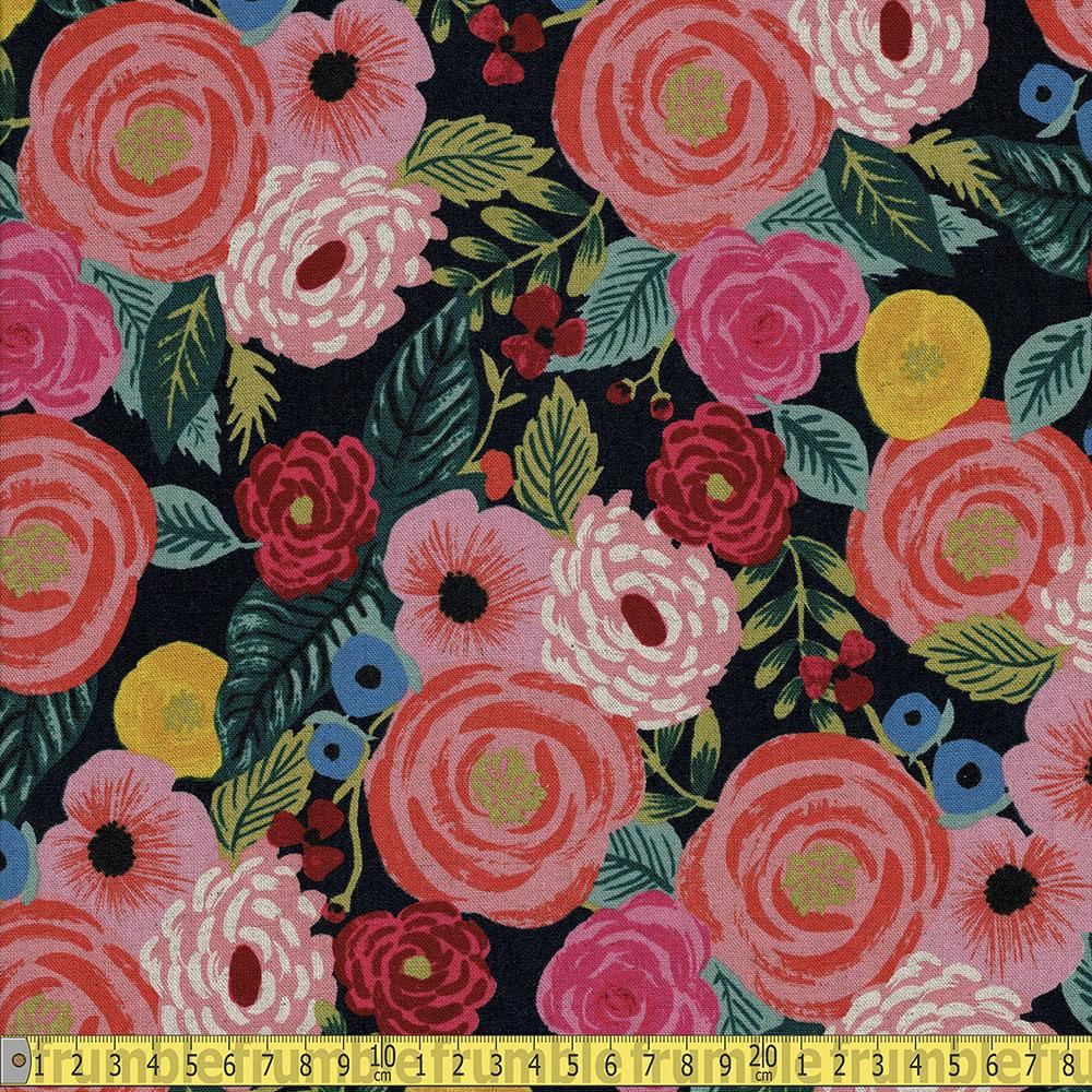 Cotton and Steel CANVAS - Rifle Paper Co - English Garden Juliet Rose Navy Sewing Fabric