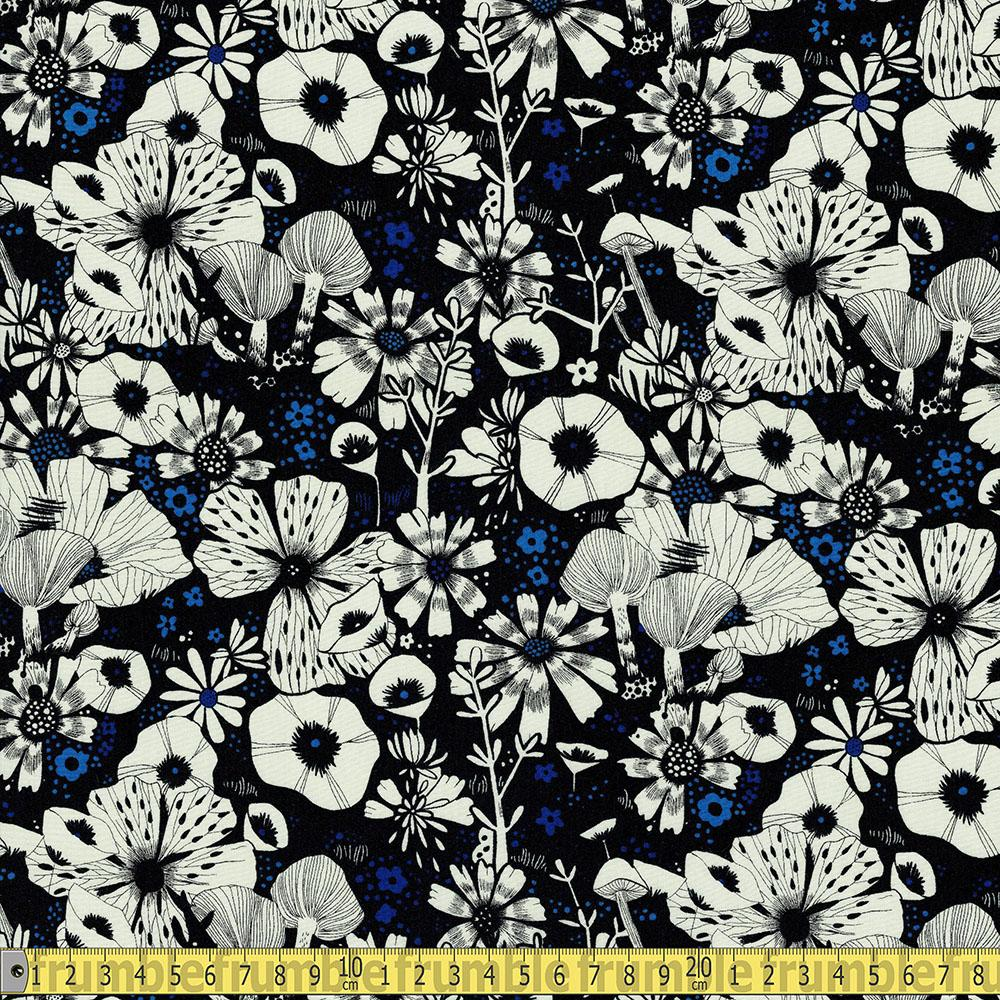 Cotton and Steel RAYON - Cat Lady - Purrfect Hiding Spot Black Sewing Fabric