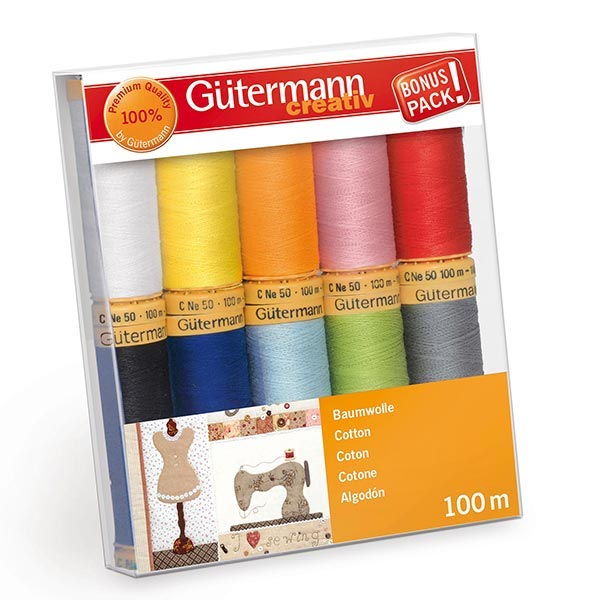 Gutermann 100m Cotton Thread - 10 Reels Rainbow Colours