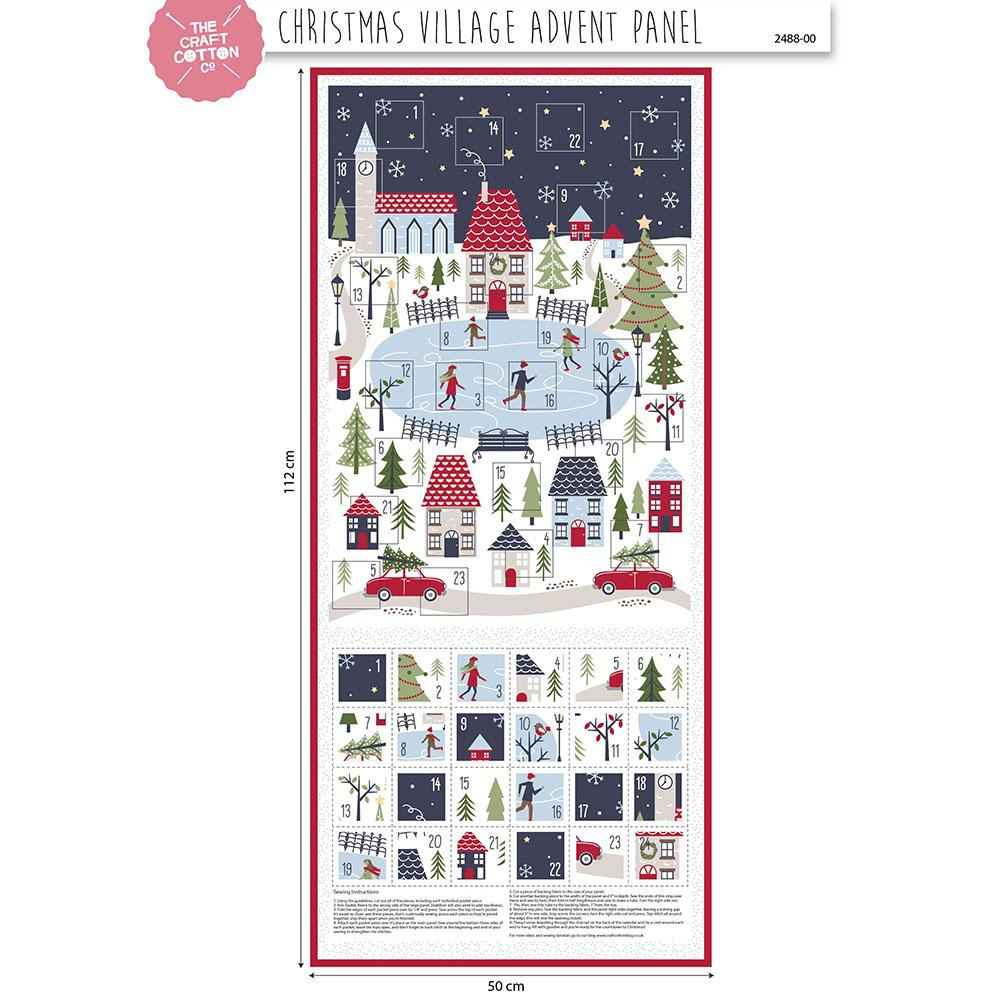 Christmas Village Advent Panel Fabric by Craft Cotton Company