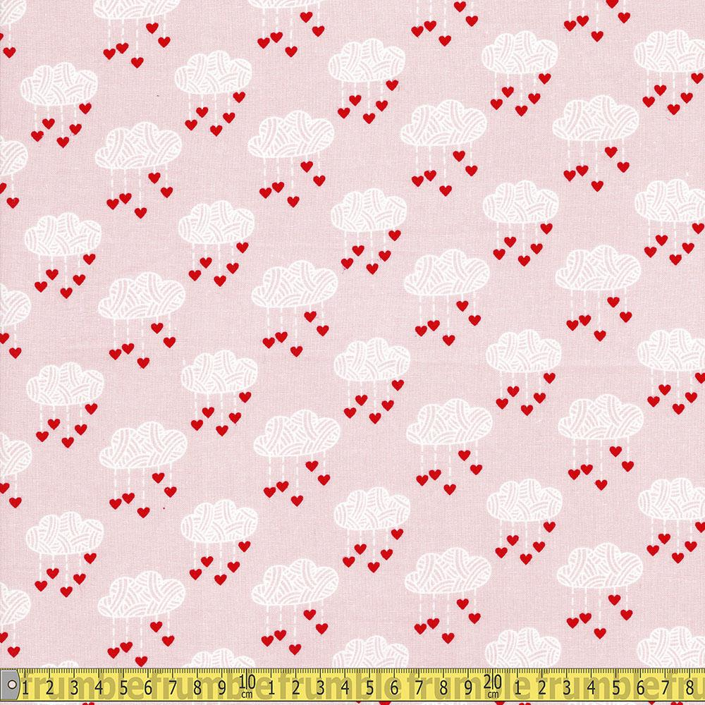 Love Story Heart Clouds Pink Fabric by Craft Cotton Company