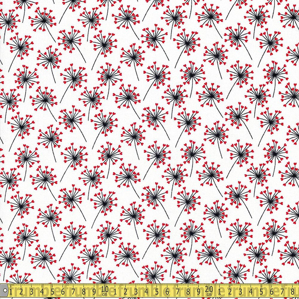 Love Story Heart Flowers White Fabric by Craft Cotton Company