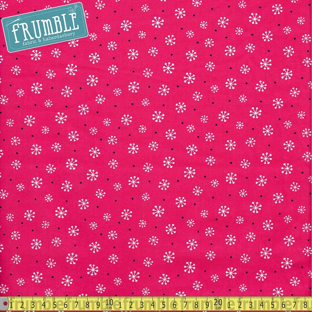Magical Christmas Snowflake Pink Fabric by Craft Cotton Company