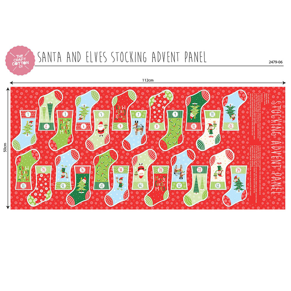 Santa And Elves Stocking Advent Panel