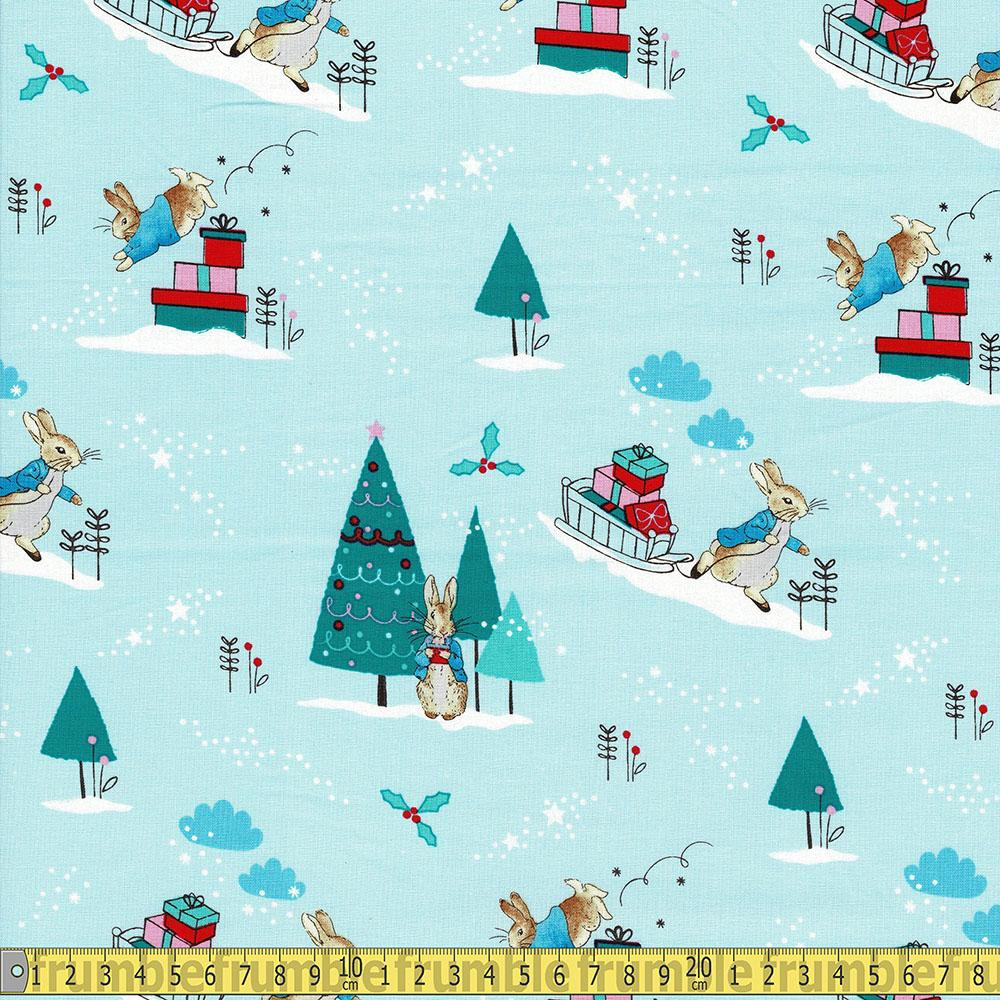 Peter Rabbit Christmas Delivering Presents Blue - Frumble Fabrics