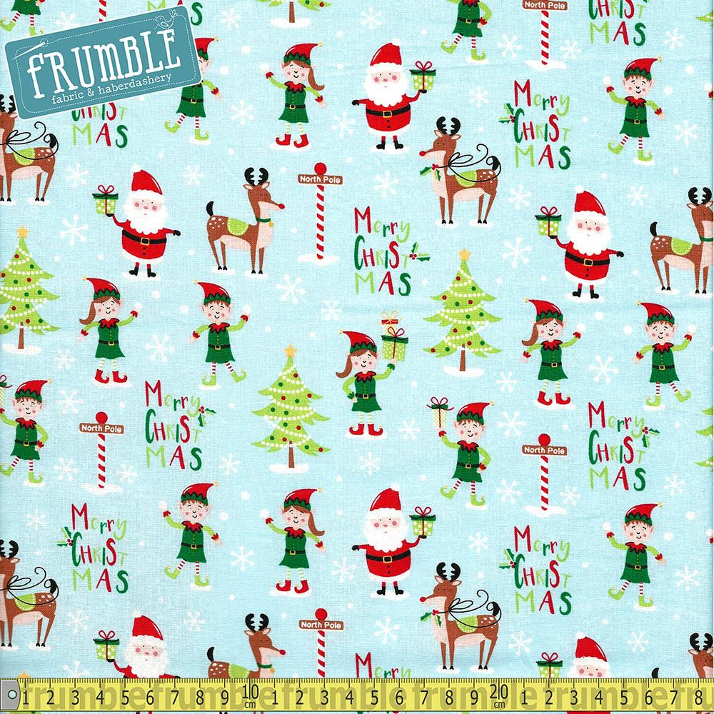 Santa And Elves Blue Fabric by Craft Cotton Company