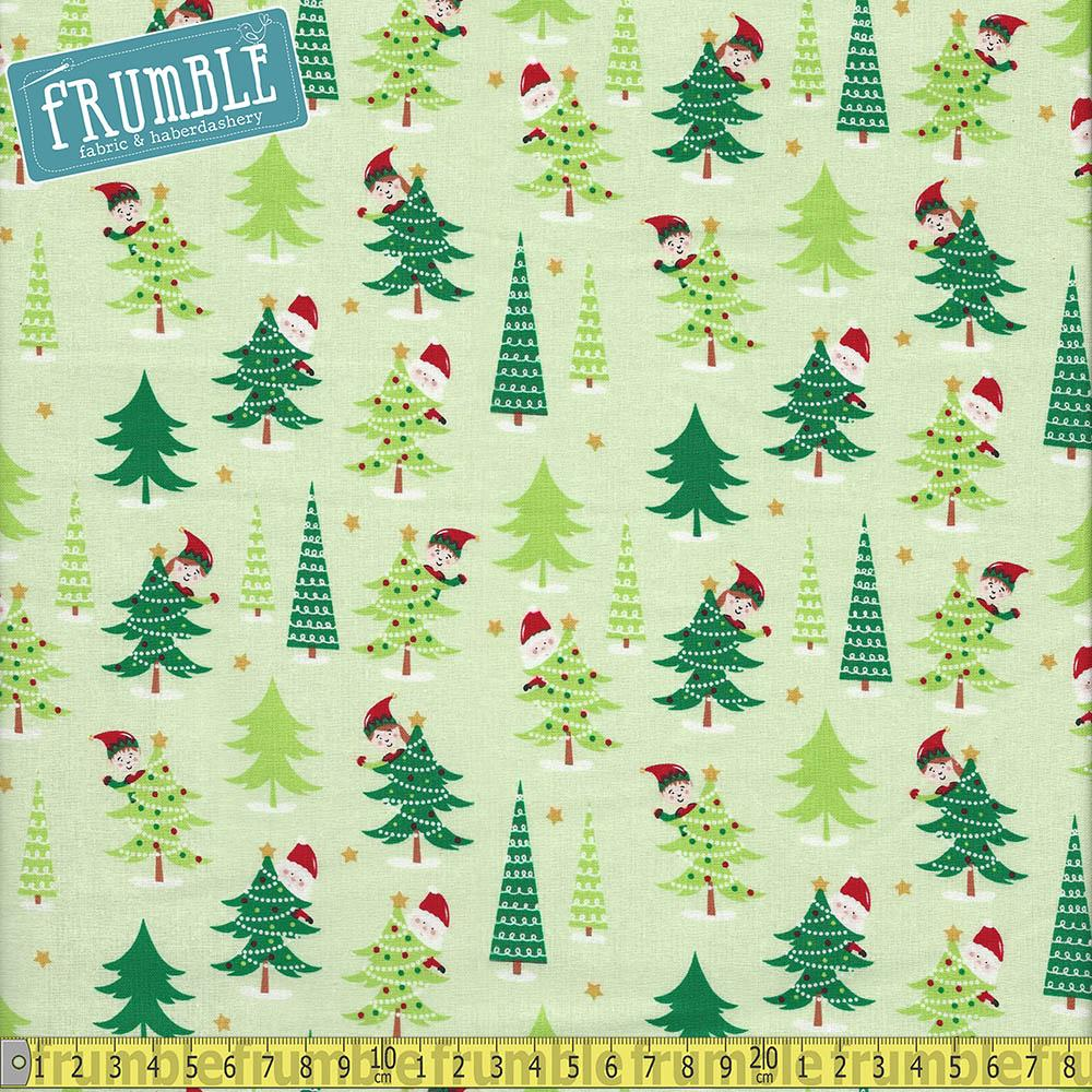 Santa And Elves Christmas Forest Fabric by Craft Cotton Company