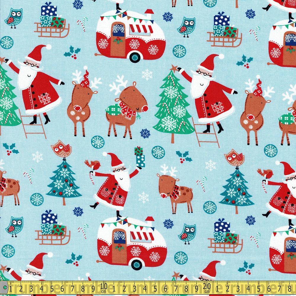 Santa And Reindeer Main Sky Blue - Frumble Fabrics