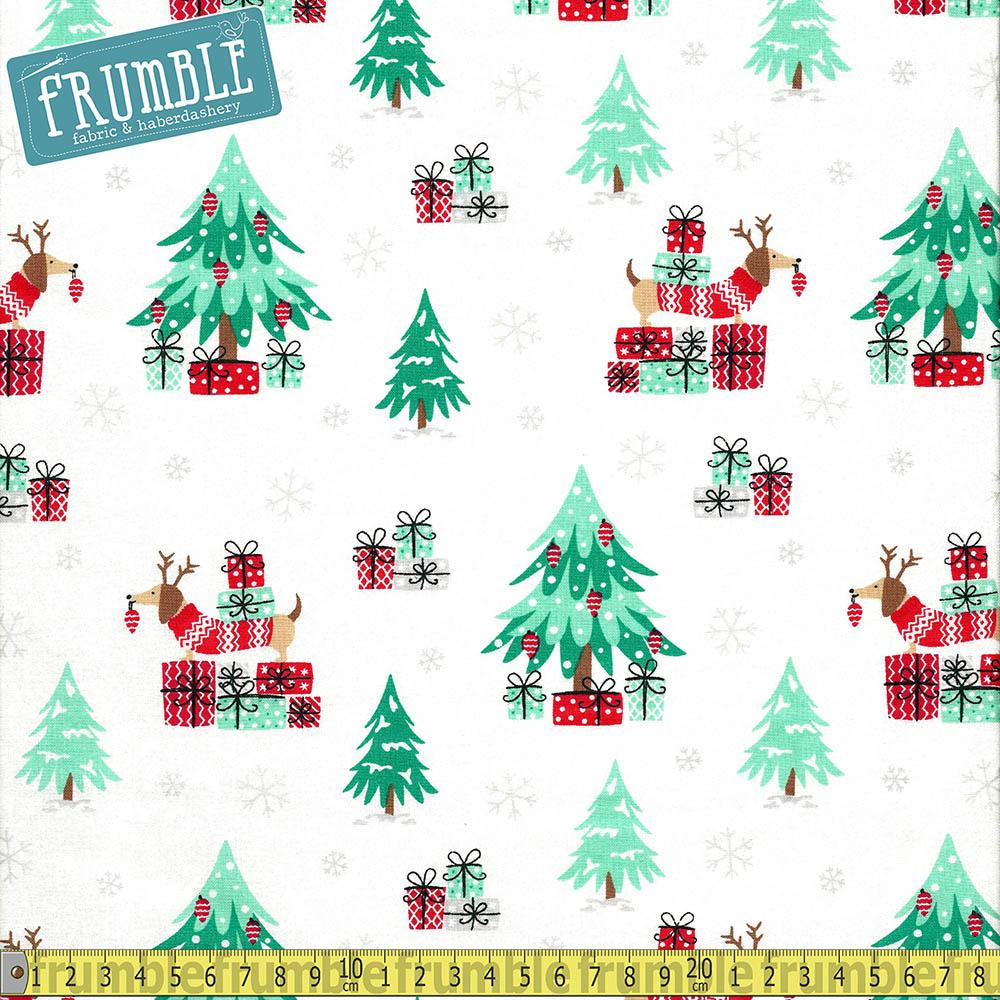 Sausage Dog Christmas Scene Fabric by Craft Cotton Company