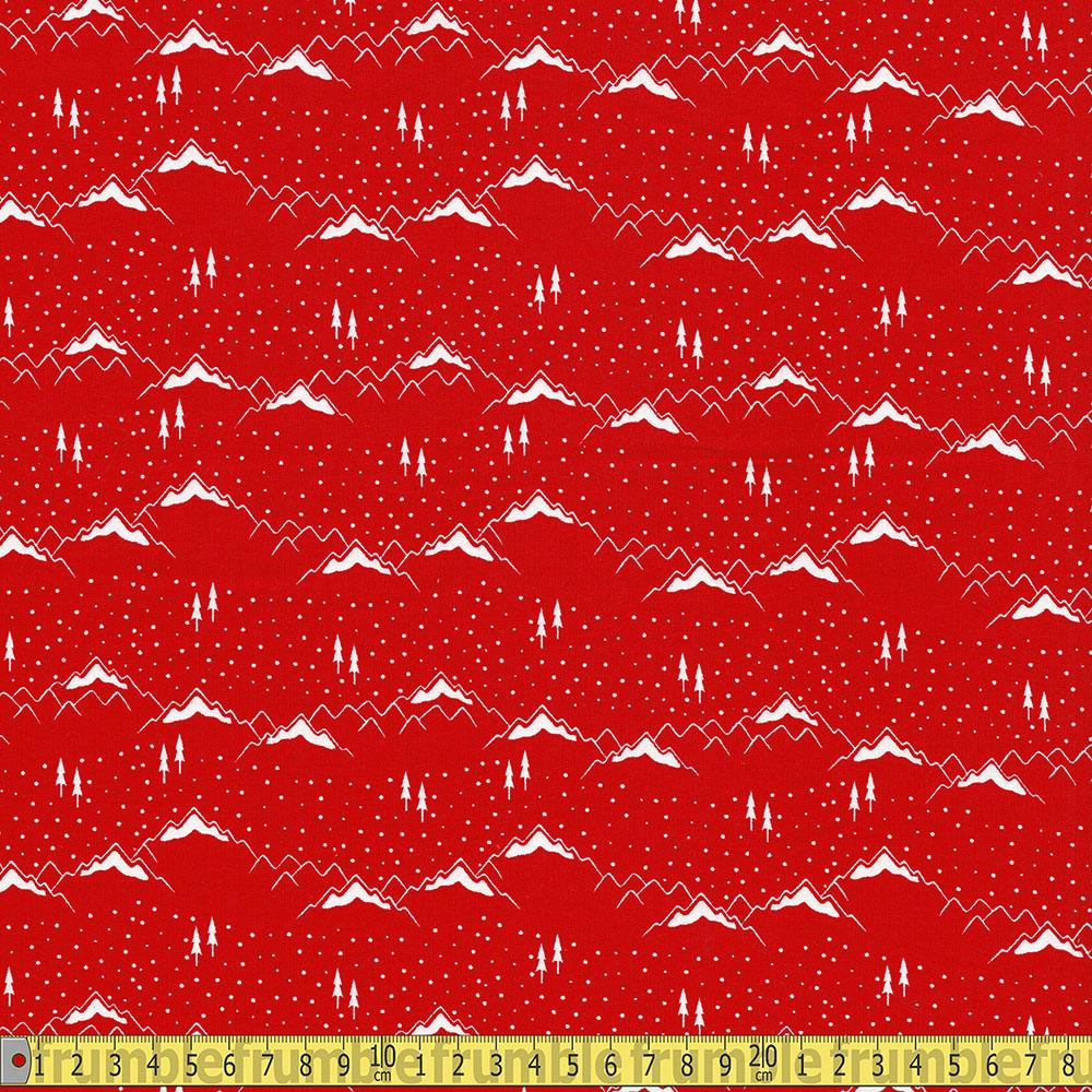 Xmas Ski Resort Mountains Red - Frumble Fabrics