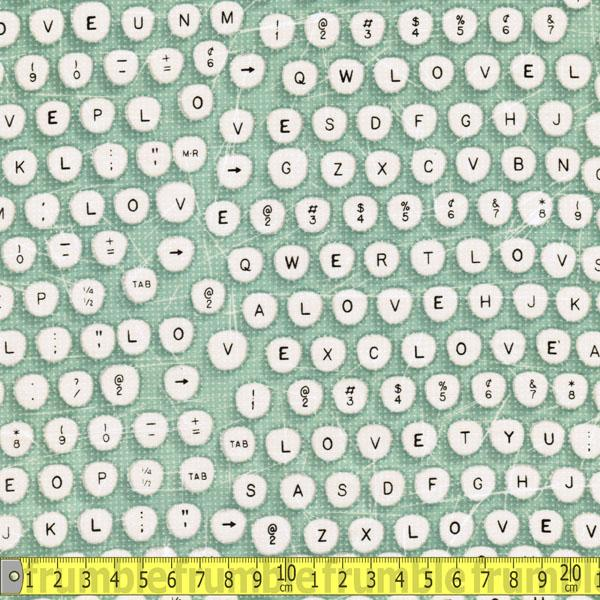 All My Heart Typewriter Keys Turquoise - Frumble Fabrics
