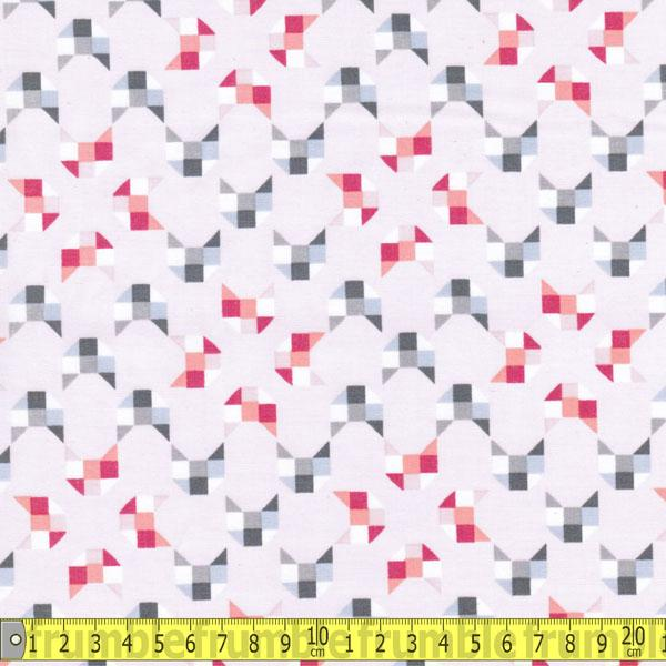 Here Kitty Kitty Geo Light Pink (Organic) Fabric by Clothworks